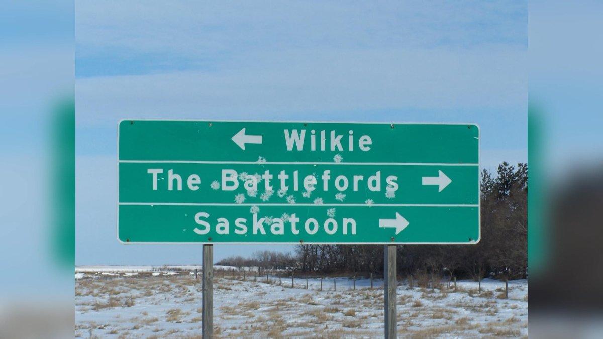 A highway sign that has been damaged in Saskatchewan.