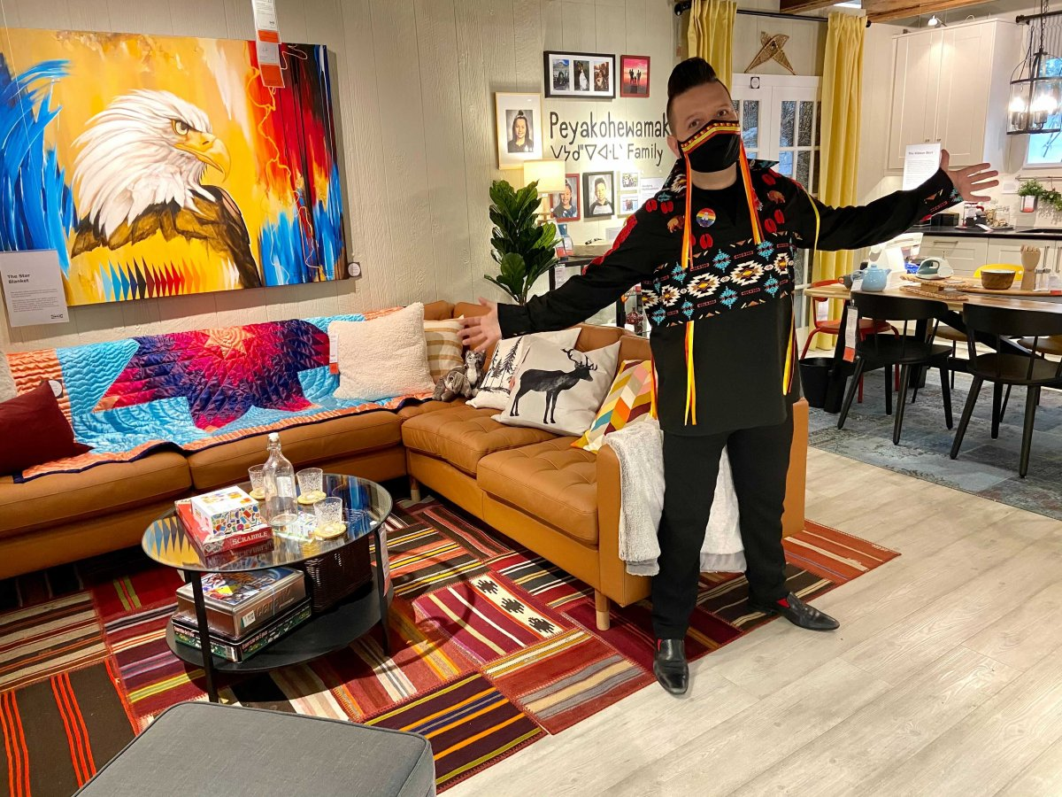 Artist Lance Cardinal in the IKEA showroom he helped design, meant to showcase a modern Indigenous family home.