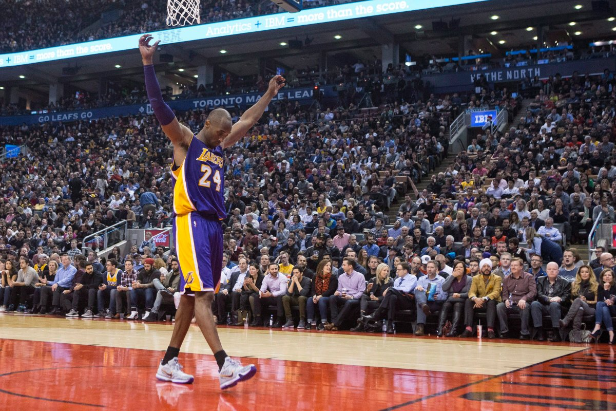 In this file photo, Los Angeles Lakers star Kobe Bryant returns to the court during the second half of the Lakers 102-93 loss to the Toronto Raptors in NBA basketball action in Toronto on Monday, December 7, 2015.