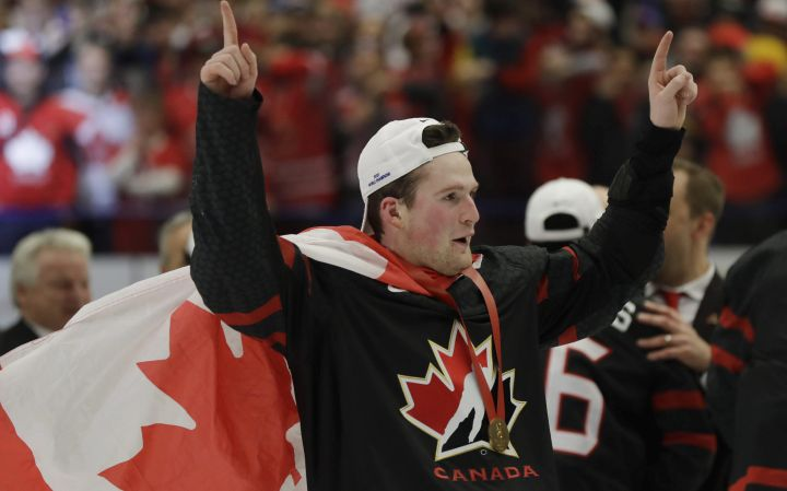 Canada's Alexis Lafreniere celebrates after winning the U20 Ice Hockey Worlds gold medal match between Canada and Russia in Ostrava, Czech Republic, Sunday, Jan. 5, 2020.