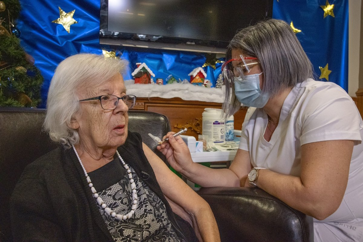 Gisèle Lévesque is the first Quebecer to receive the COVID-19 vaccine.
