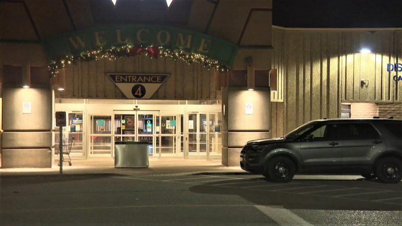 Calgary police investigate a robbery at Marlborough Mall on Monday, Dec. 7, 2020.