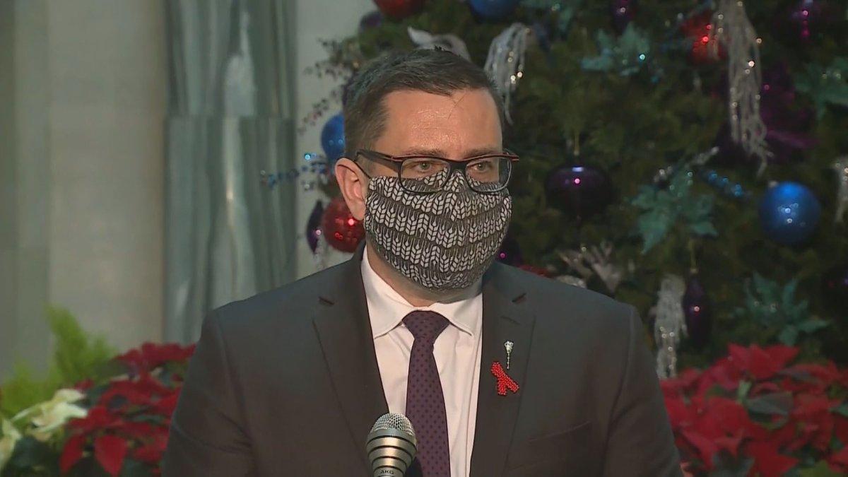 Speaking in the rotunda of the legislative building Tuesday, Saskatchewan Health Minister Paul Merriman says the coronavirus vaccine won't be mandatory.