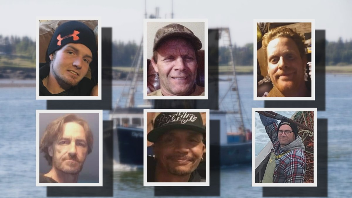 (Top L to R) Aaron Cogswell, Charles Roberts, Daniel Forbes, Geno Francis, Leonard Gabriel and Michael Drake were the crew onboard the Chief William Saulis, a scallop dragger that is believed to have sunk while operating off the coast of Nova Scotia.