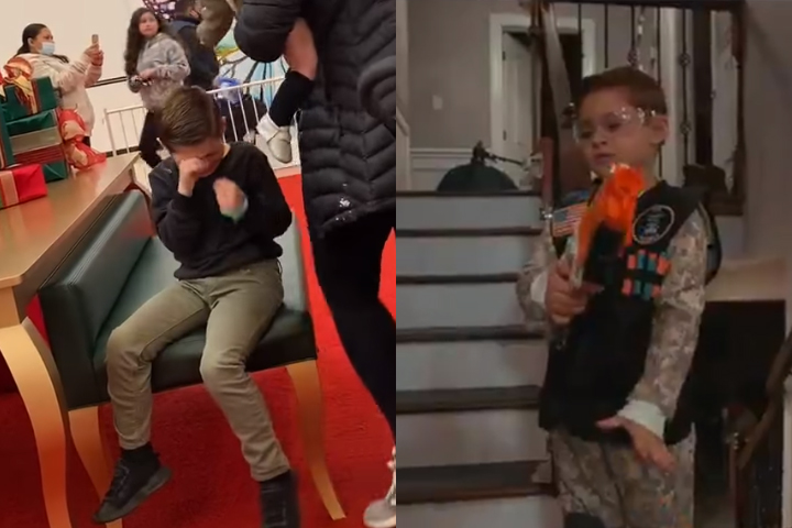 Michael DeCarlo is shown crying in front of Santa, left, and with a new Nerf gun, right.