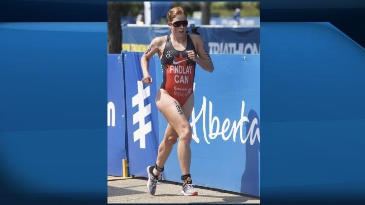 Paula Findlay, of Canada, runs during the elite women's ITU World Triathlon Series in Edmonton on Saturday, July 29, 2017.