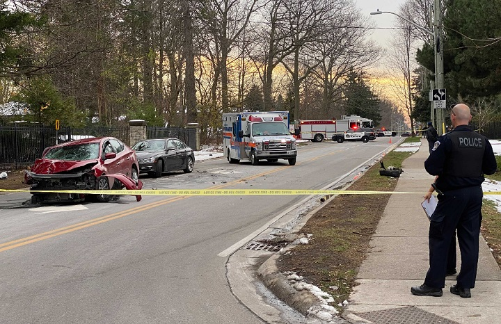 The crash happened on Lakeshore Road East at around 2:15 p.m. on Thursday.