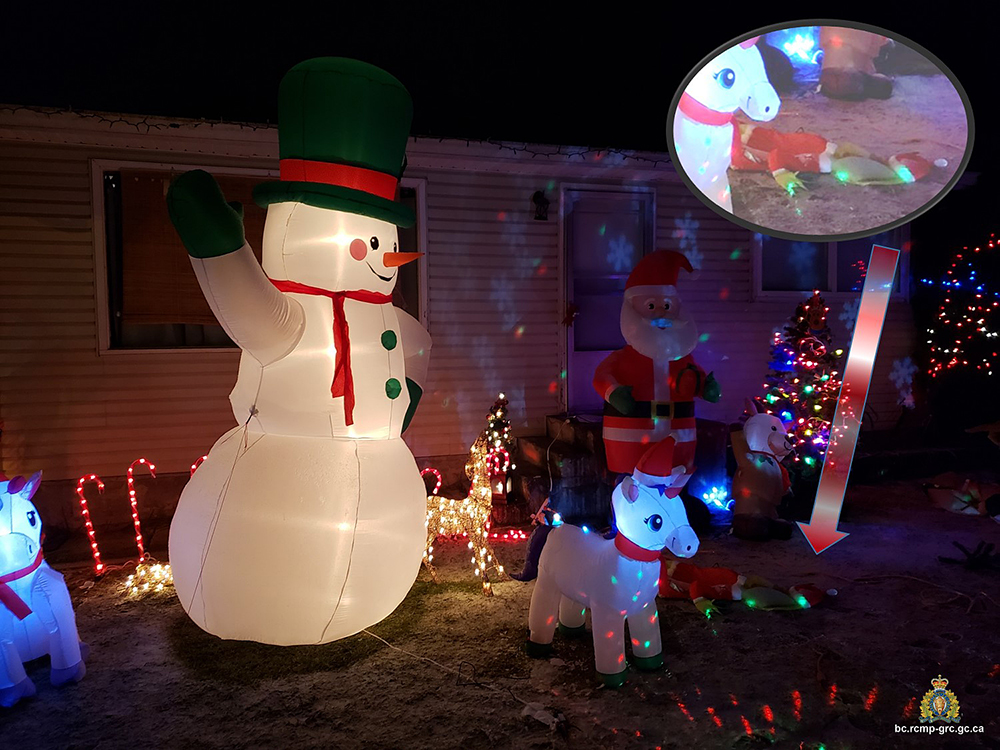 A photograph showing the alleged stolen Christmas decorations. The inflatable Grinch is shown face down.