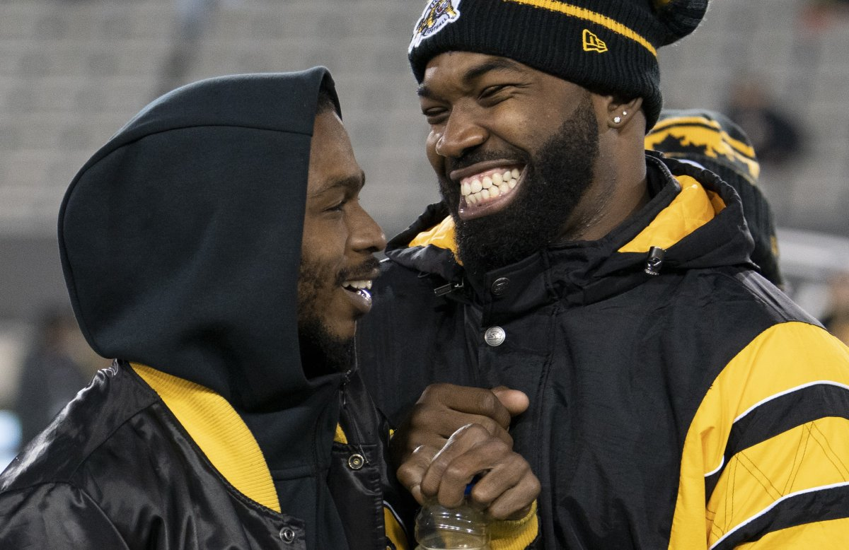 Brandon Banks, left, and Simoni Lawrence are two impending free agents on the Hamilton Tiger-Cats.