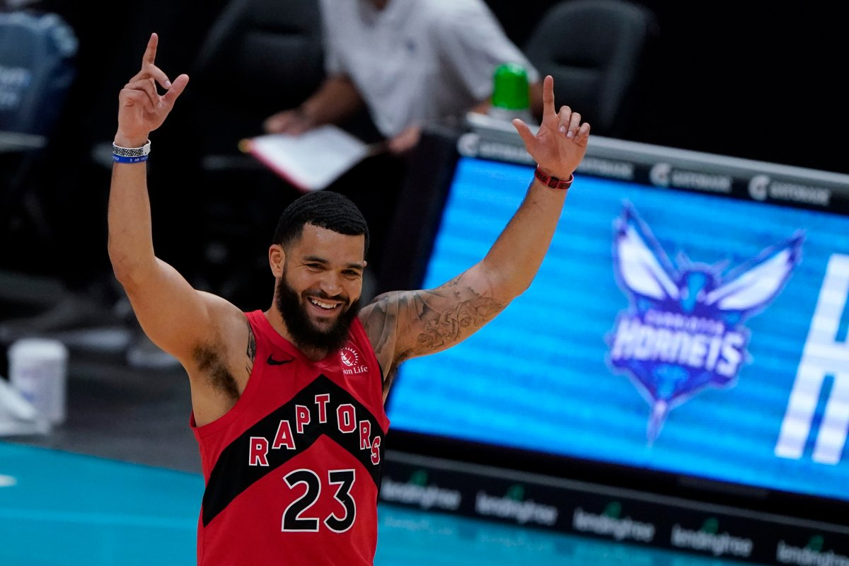 Toronto Raptors guard Fred VanVleet celebrates after scoringing against the Charlotte Hornets during the first half of an NBA preseason basketball game in Charlotte, Monday, Dec. 14, 2020.