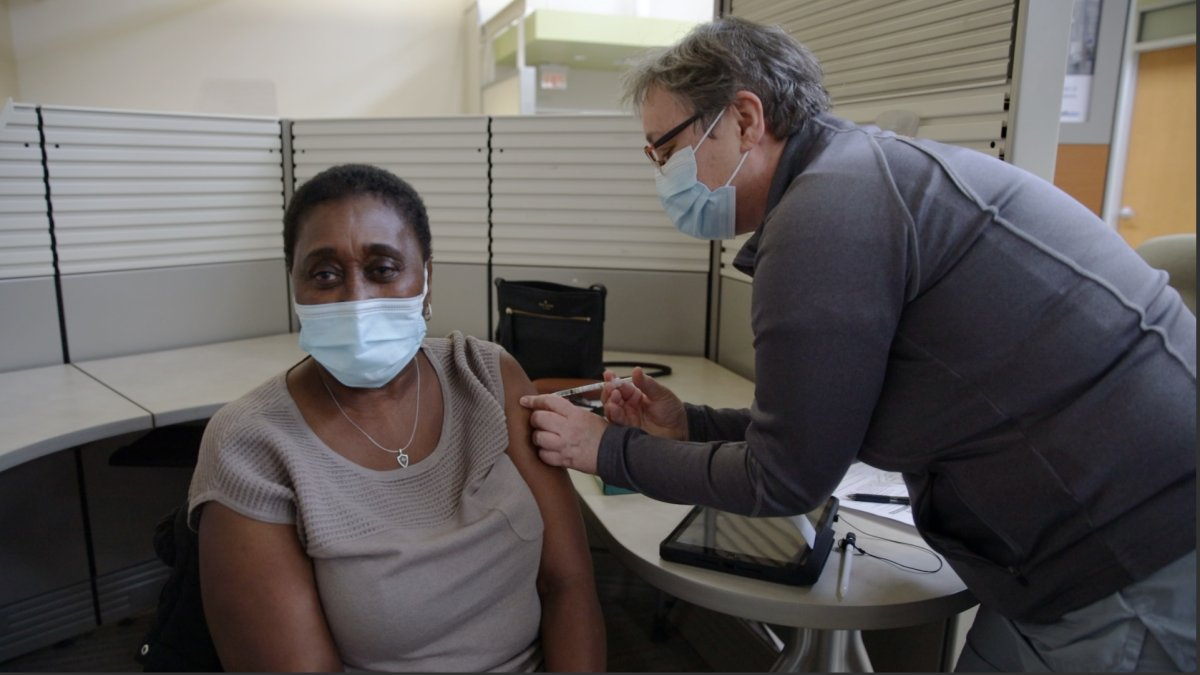 Merdina Nangle-Palmer was the first person in Hamilton to receive a dose of the Pfizer-BioNTech COVID-19 vaccine.