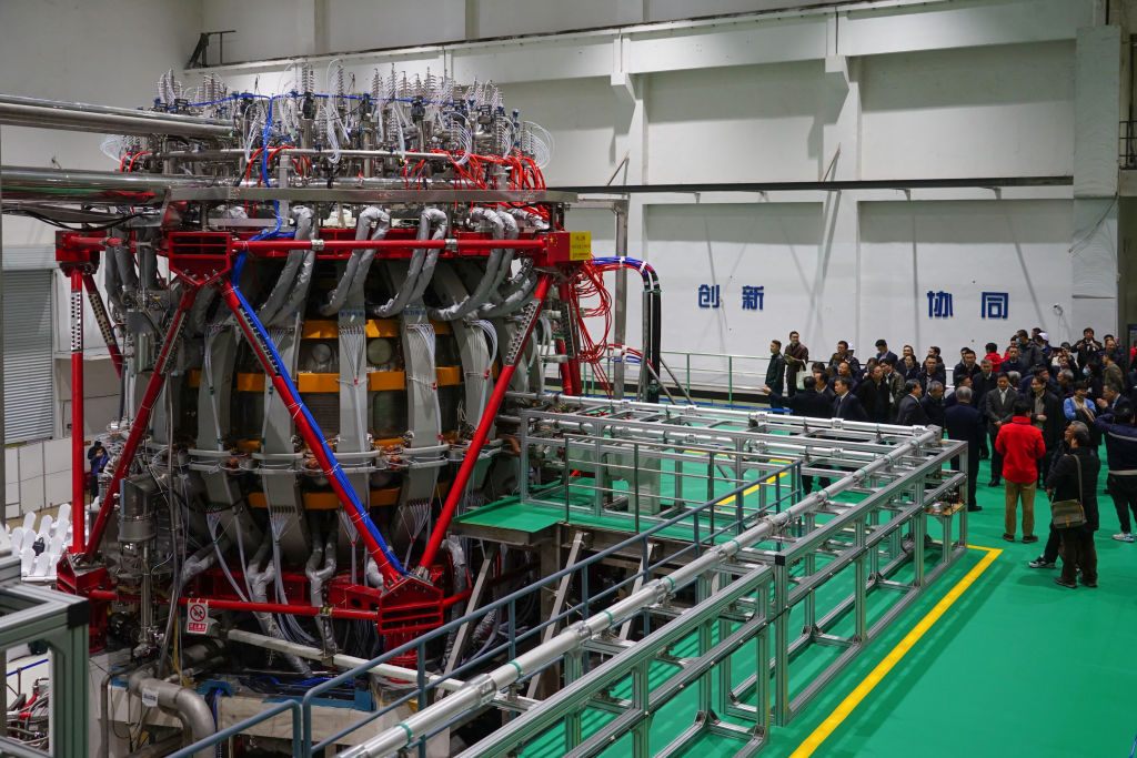 China's nuclear fusion device 'HL-2M' tokamak, nicknamed the Artificial Sun, achieves its first plasma discharge at the Southwestern Institute of Physics (SWIP) on Dec. 4, 2020 in Chengdu, Sichuan province of China.