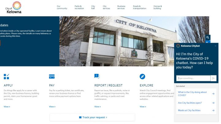 The City of Kelowna has updated its website with a new chatbot feature.