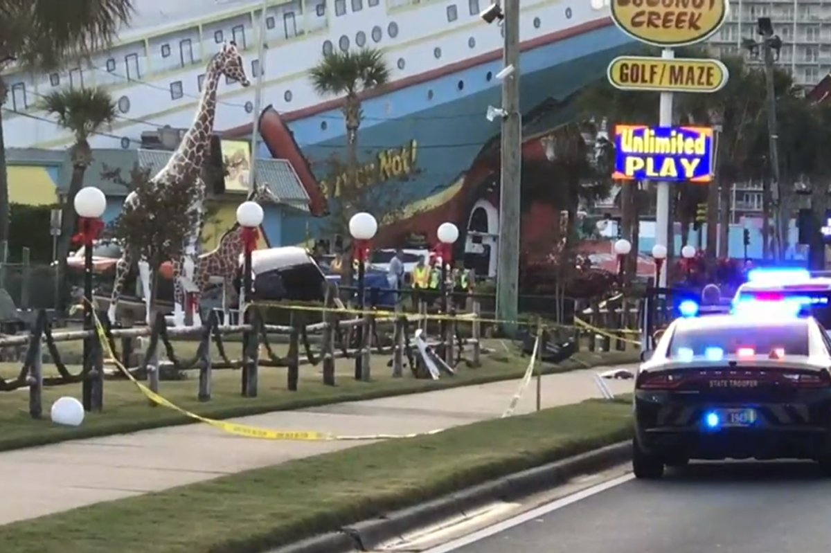 Police vehicles are shown outside Coconut Creek Family Fun Park after a fatal incident on Dec. 4, 2020.