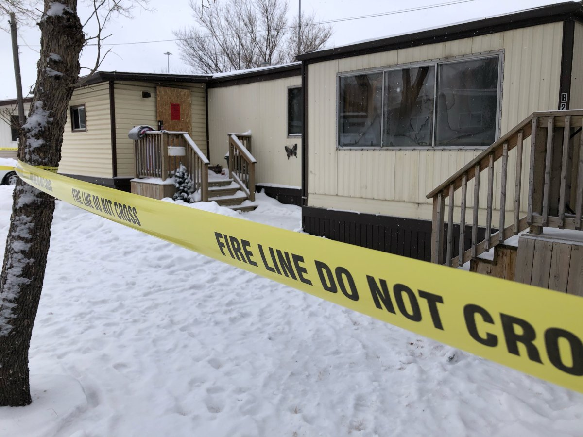 One person is dead following a mobile home fire at Glen Elm trailer park in east Regina.