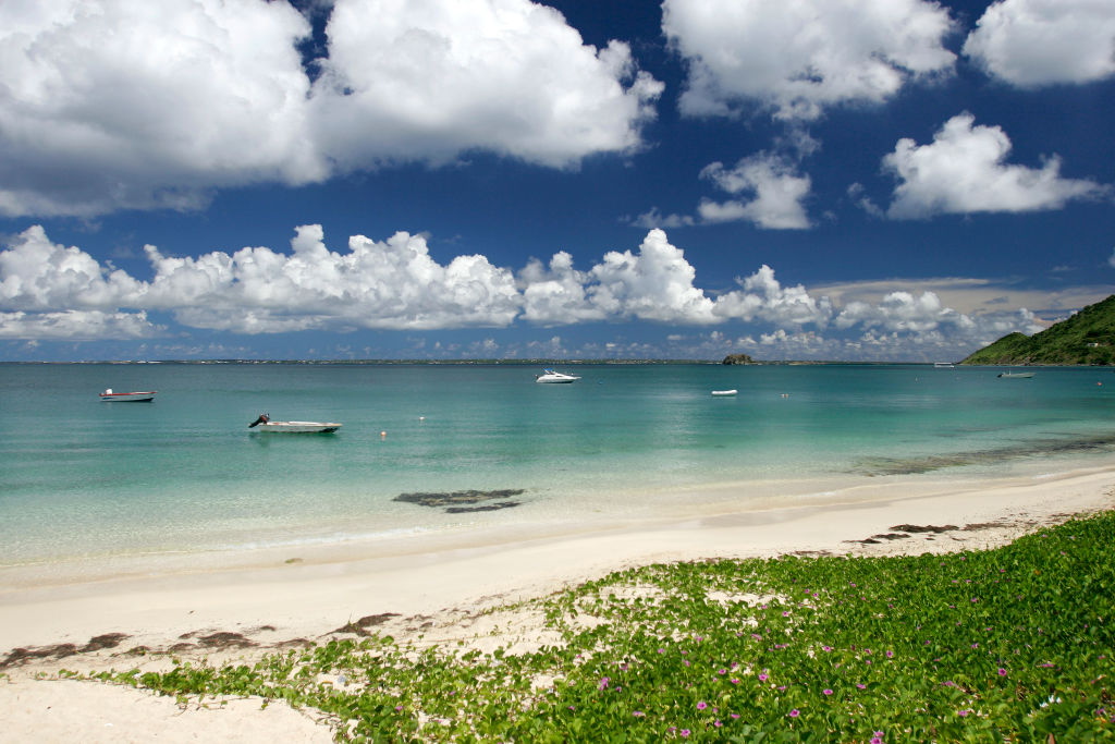 A white sand beach is shown on the French Caribbean island territory of St. Martin.