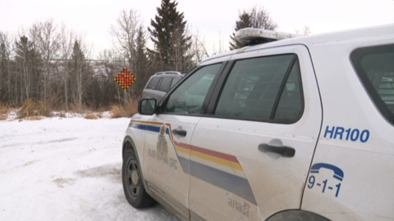 RCMP investigate a hunting accident south of Calgary on Tuesday, Dec. 15, 2020.