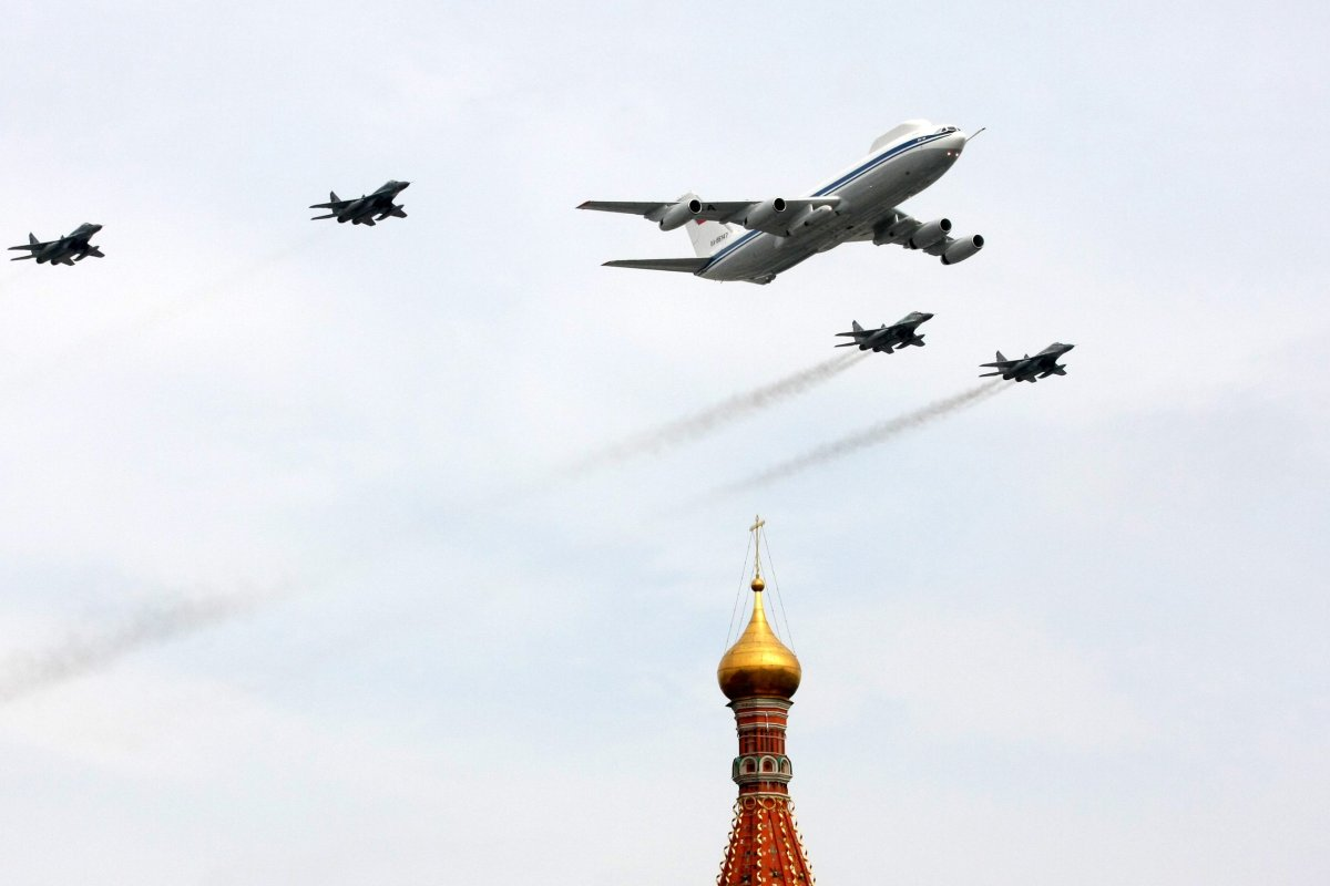 A Russian Il-80 plane and fighter jets St. Basil's Cathedral near Red Square in Moscow on May 4, 2010 during a Victory Day parade rehearsal.