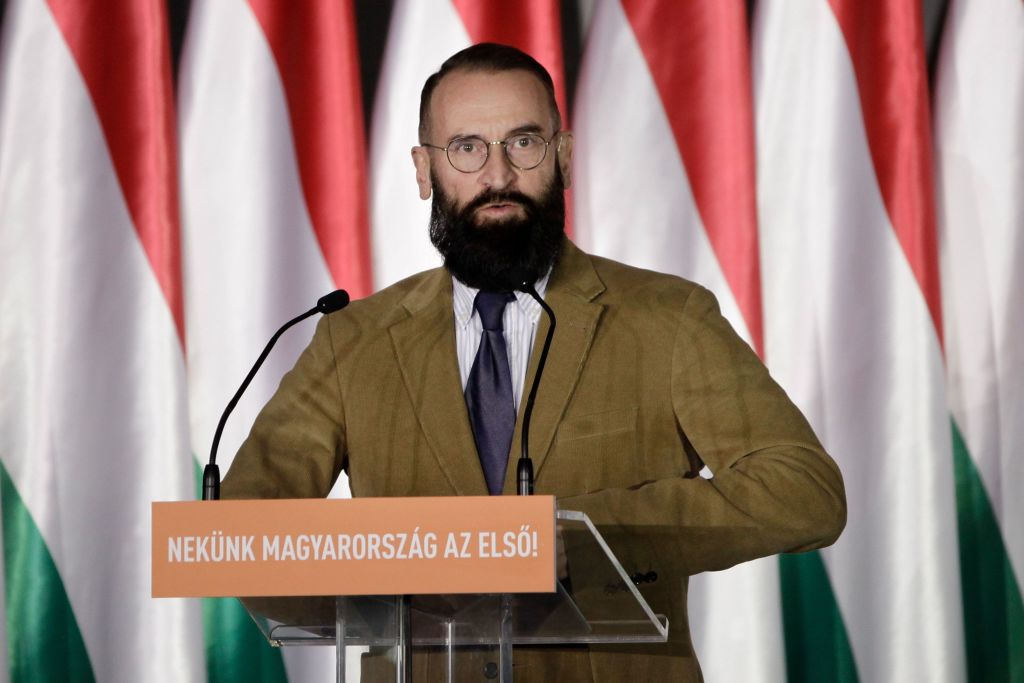 Fidesz-KDNP Member of the European Parliament Jozsef Szajer gives a speech to launch the campaign of the right-wing Fidesz ruling party ahead of the European Parliament elections on April 5, 2019 in Budapest.