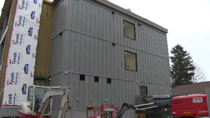 The City of Toronto's first modular housing building on Macey Avenue.