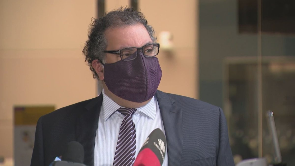 Calgary Mayor Naheed Nenshi addresses members of the media following a vote to increase fines for breaking the city's mask bylaw, pictured on Dec. 14, 2020.