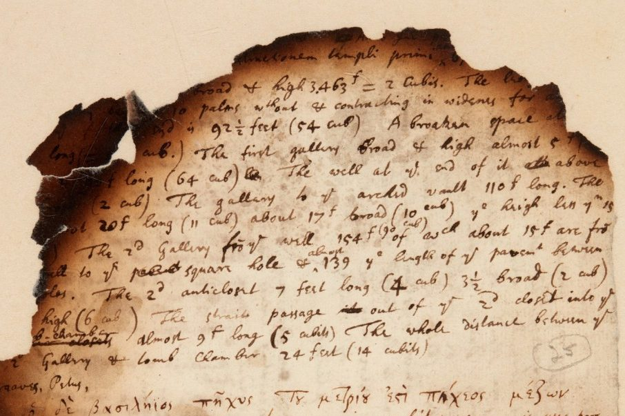 A scorched page from Isaac Newton's notes is shown.