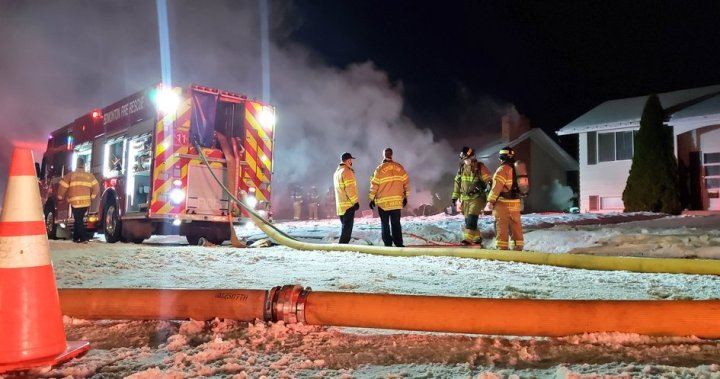 Firefighters battle house blaze in east Edmonton