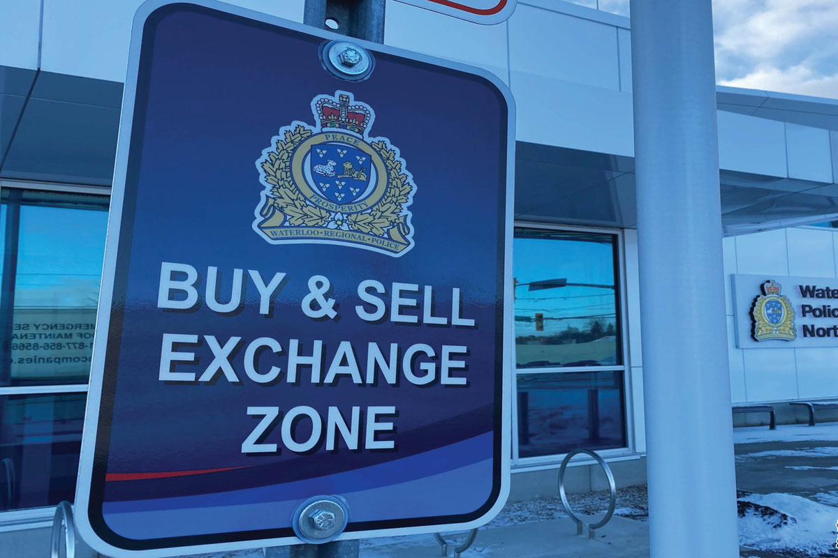 Waterloo Regional Police have set up a safe exchange zone at their North Division station, located at 45 Columbia St. in Waterloo.