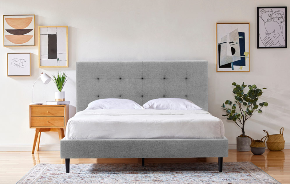 Silk & Snow bed frame with headboard