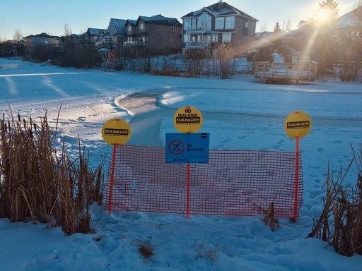 A stormwater facility blocked off in Edmonton's Glastonbury neighbourhood 2020.