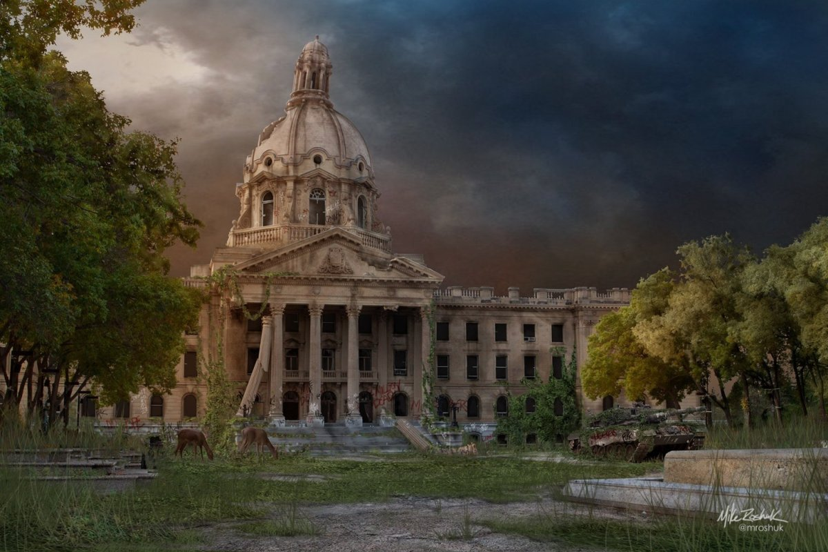 A piece from the Post Apocalyptic Edmonton art series by Mike Roshuk.