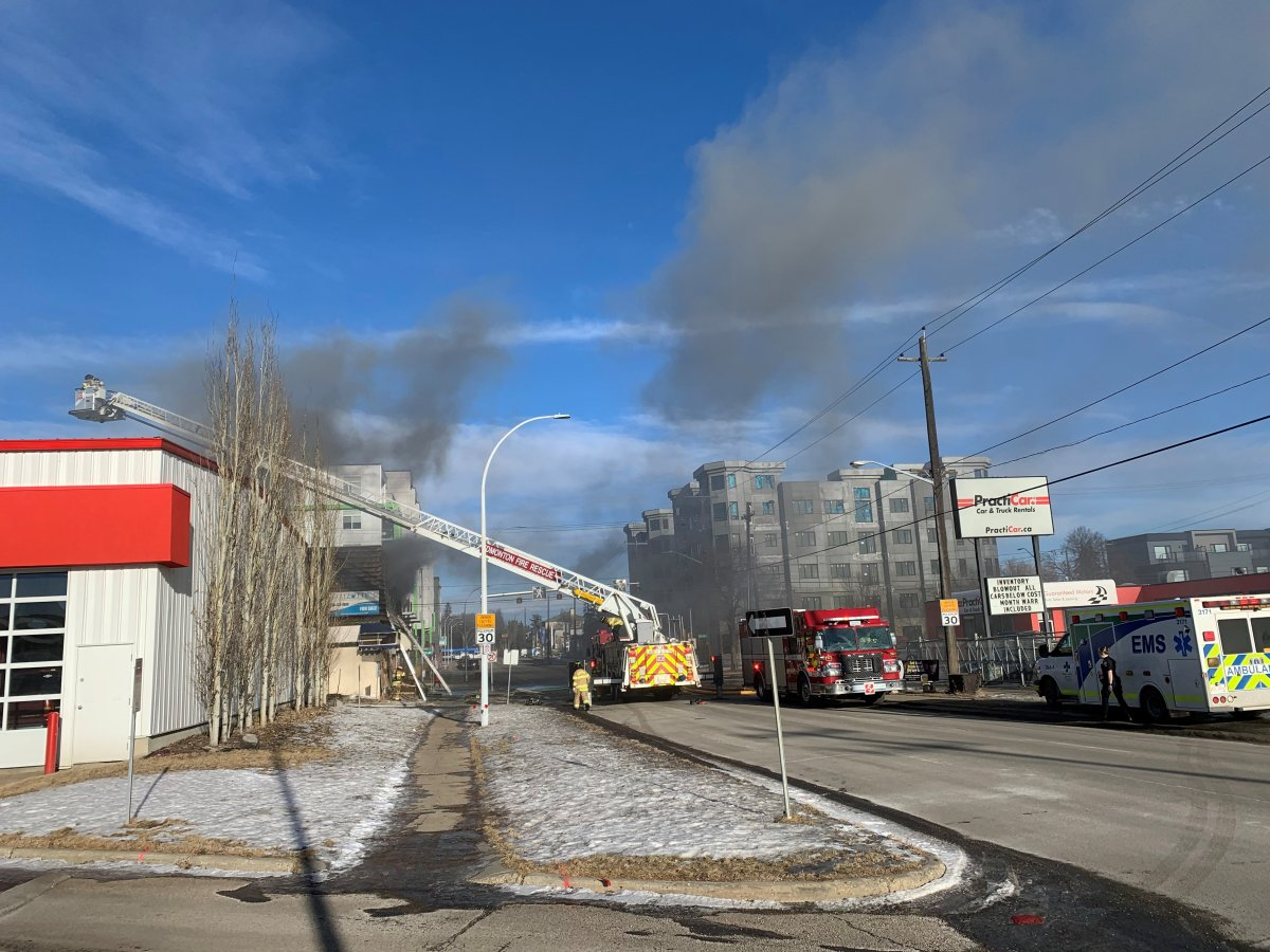 A structure fire at 106 Ave and 116 St. in Edmonton on Wednesday, Jan. 20, 2021.