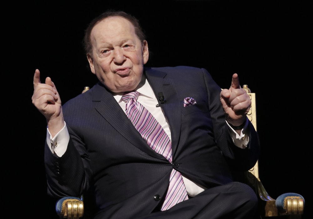In this Sept. 13, 2016 file photo, U.S. billionaire Sheldon Adelson speaks during a news conference for the opening of Parisian Macao in Macau.