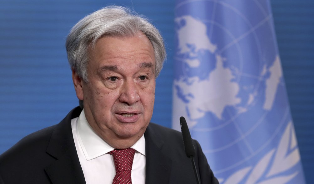 UN Secretary-General Antonio Guterres addresses the media during a joint press conference with German Foreign Minister Heiko Maas after a meeting in Berlin, Germany, Thursday, Dec. 17, 2020.