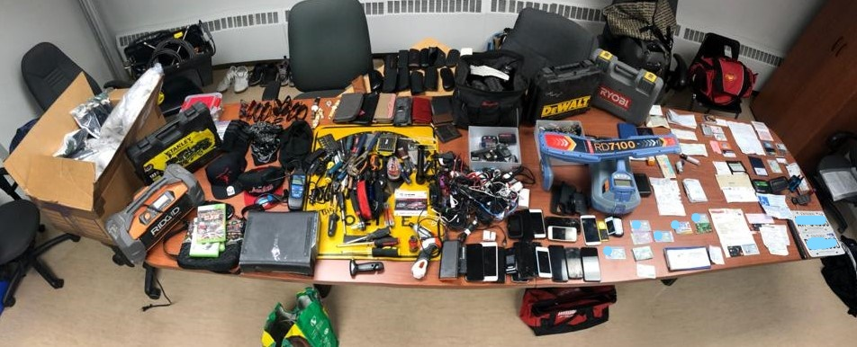 Some of the items Elgin, Middlesex, and Oxford OPP detachments say they seized as part of a two-month investigation into a property and vehicle crimes that occurred in southwestern Ontario since November 2020. Two people have been charged.