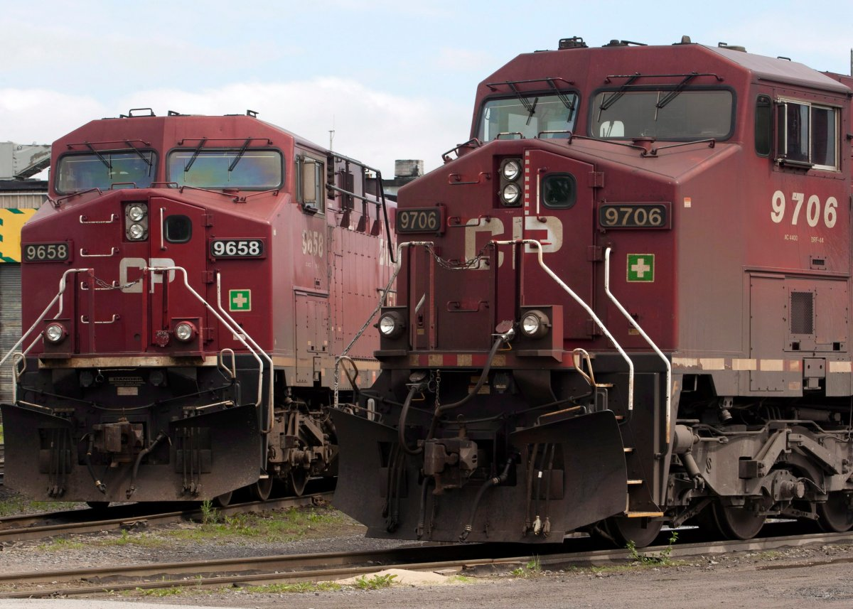 Canadian Pacific locomotives sit in a rail yard Wednesday, May 23, 2012 in Montreal.