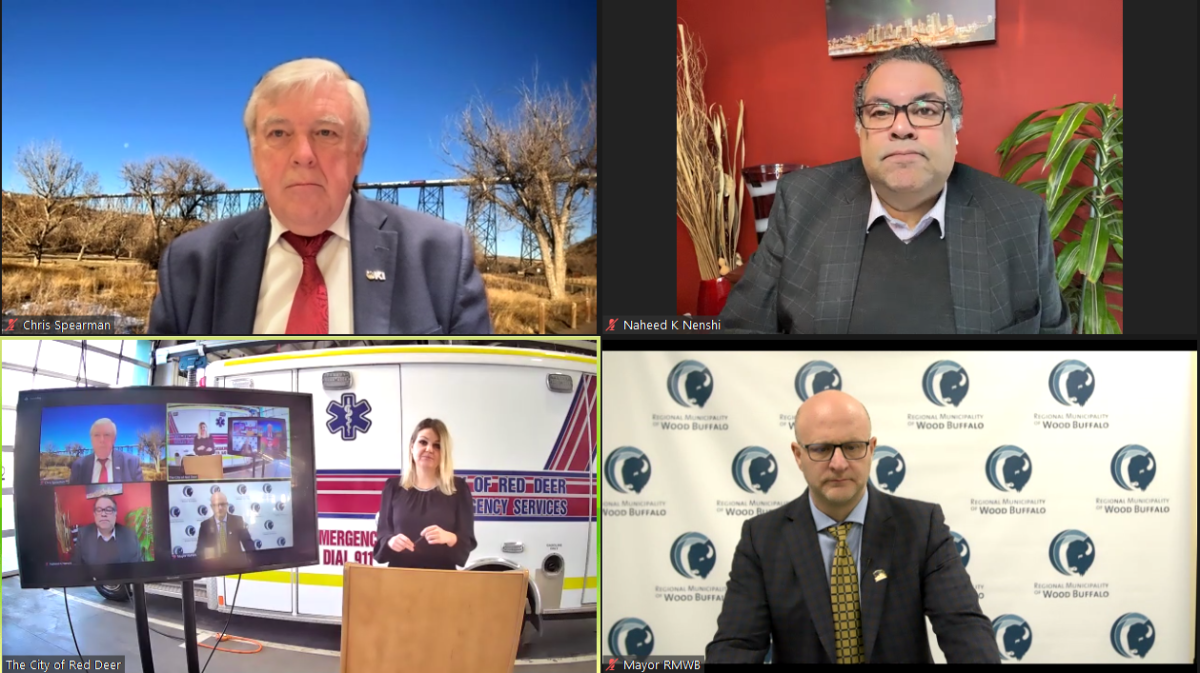 Mayors Chris Spearman, Naheed Nenshi, Tara Veer and Don Scott appear in a virtual press conference on Jan. 11, 2021 to call for Alberta Health Services to pause EMS dispatch consolidation, set to begin in Red Deer and Lethbridge on Jan. 12, 2021.