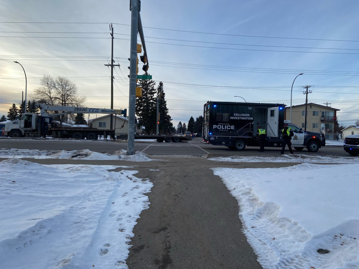 Edmonton police shut down 50 Street in both directions between 93 Avenue and 98 Avenue due to a serious collision. Monday, January 4, 2021.