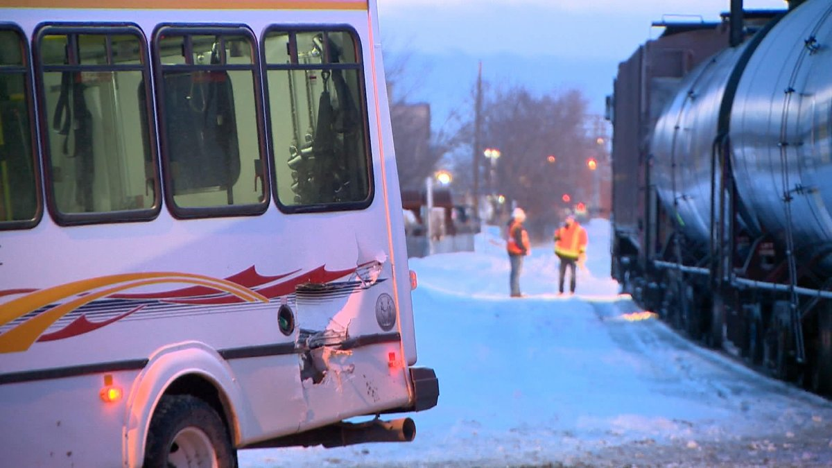 Saskatoon Transit officials said it appears the bus was stopped too close to the railroad tracks.