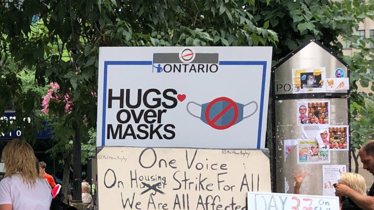 13 'Hugs Over Masks' protestors charged after another demonstration at Hamilton city hall - image