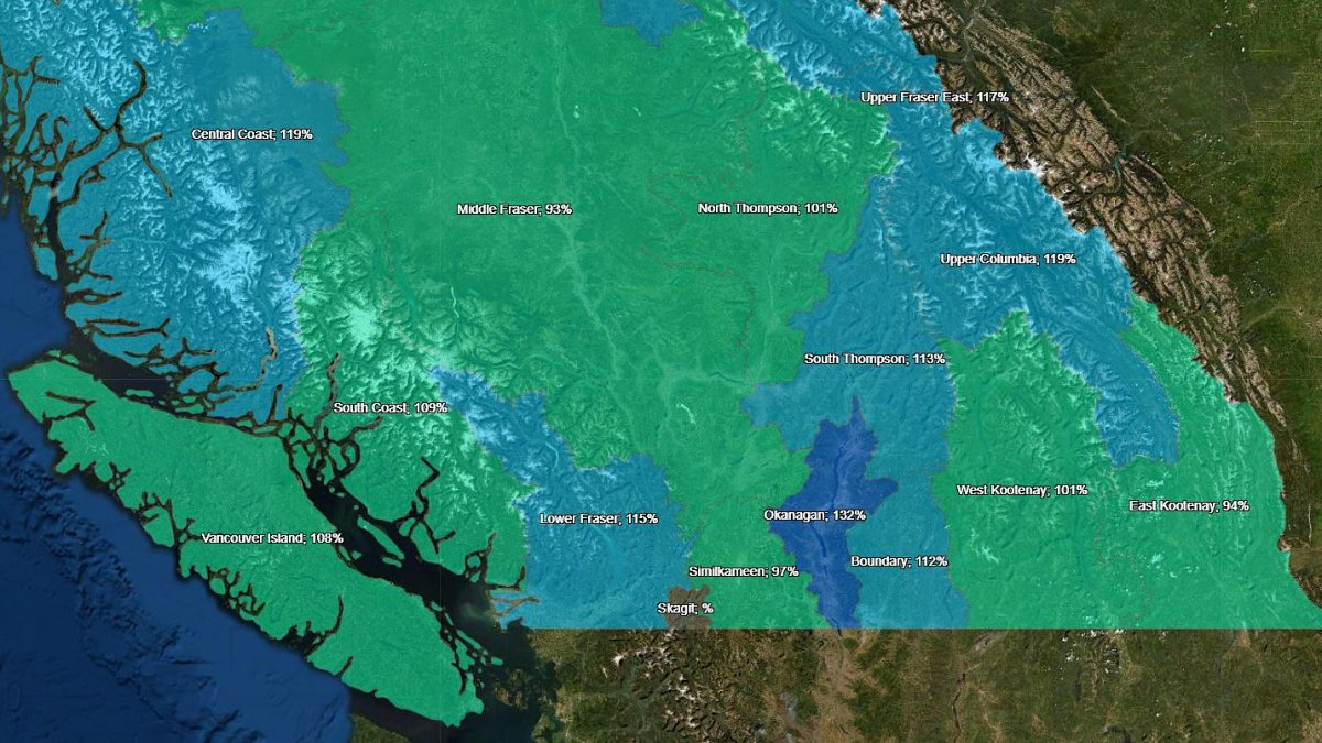 A map showing B.C.'s snow basin regions ranging from green (around 100 per cent of normal snowpack levels) to dark blue (above average). The map shows data from Jan. 5.