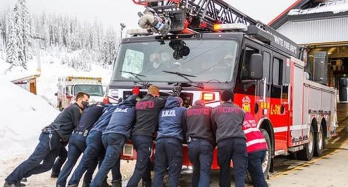 Big White Fire Department receives keys to new, long-awaited ladder truck