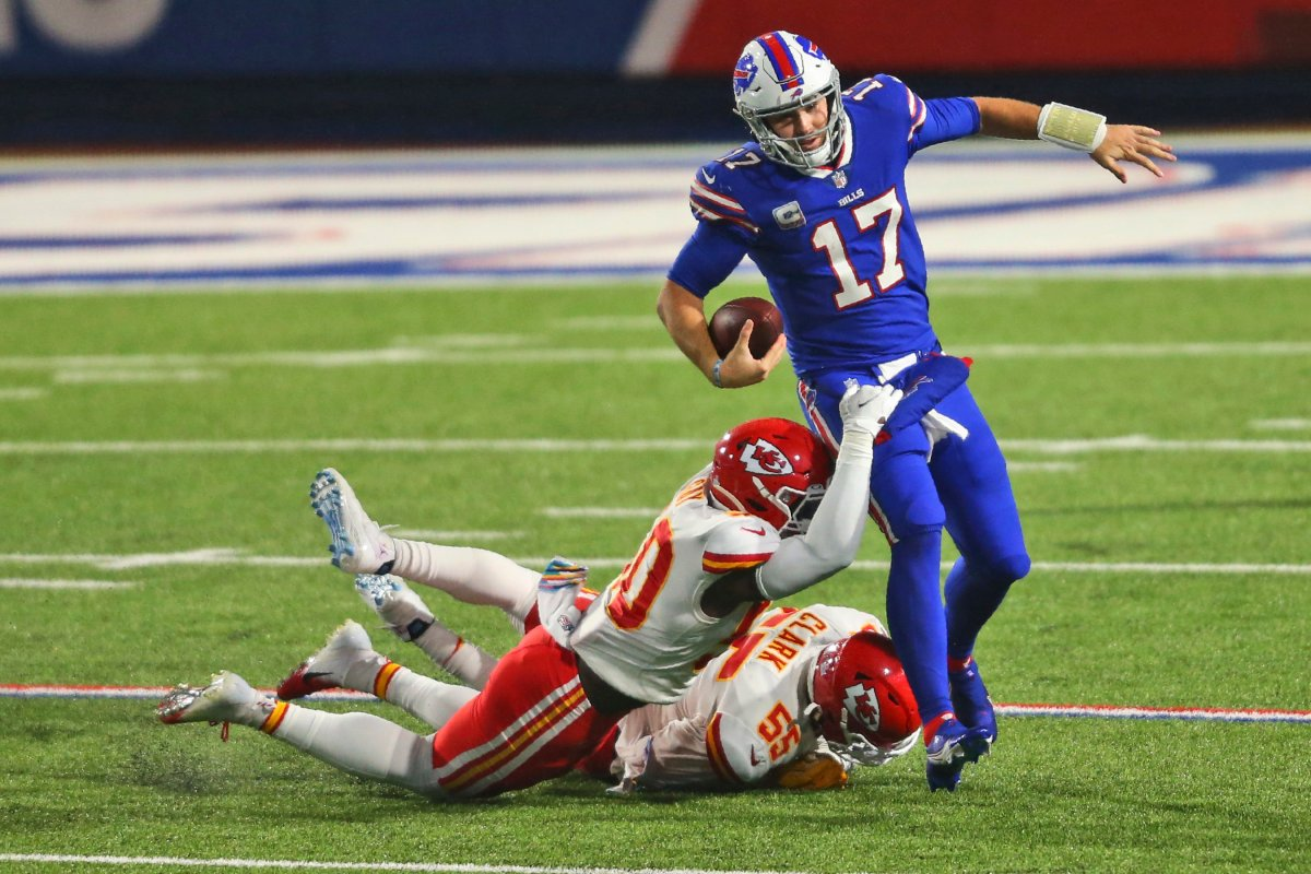 Kansas City Chiefs' Willie Gay (50) and Frank Clark (55) take down Buffalo Bills quarterback Josh Allen (17) during the second half of an NFL football game, Monday, Oct. 19, 2020, in Orchard Park, N.Y. The Chiefs defeated the Bills 26-17.