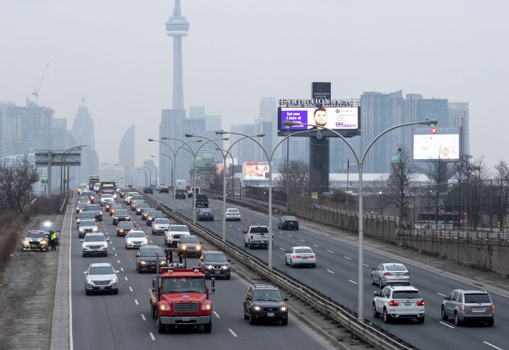 Heavy traffic leaves the downtown core in Toronto on Thursday January 14, 2021.