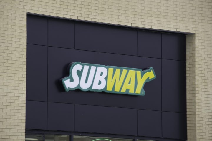 The logo of the Subway restaurant is pictured on a building in Gatineau, Quebec on Tuesday, April 24, 2018.