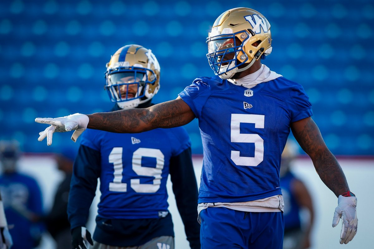 Winnipeg Blue Bombers Willie Jefferson, right, and Kyrie Wilson during practice for Sunday's CFL Grey Cup football game in Calgary, Friday, Nov. 22, 2019.