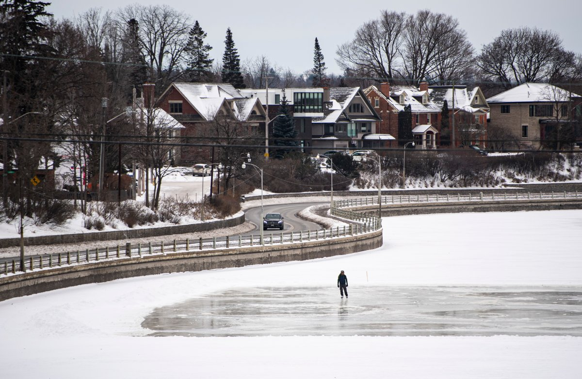 A skater skates on a section of the Rideau Canal Skateway in Ottawa on the opening day of its 50th season, on Saturday, Jan. 18, 2020.