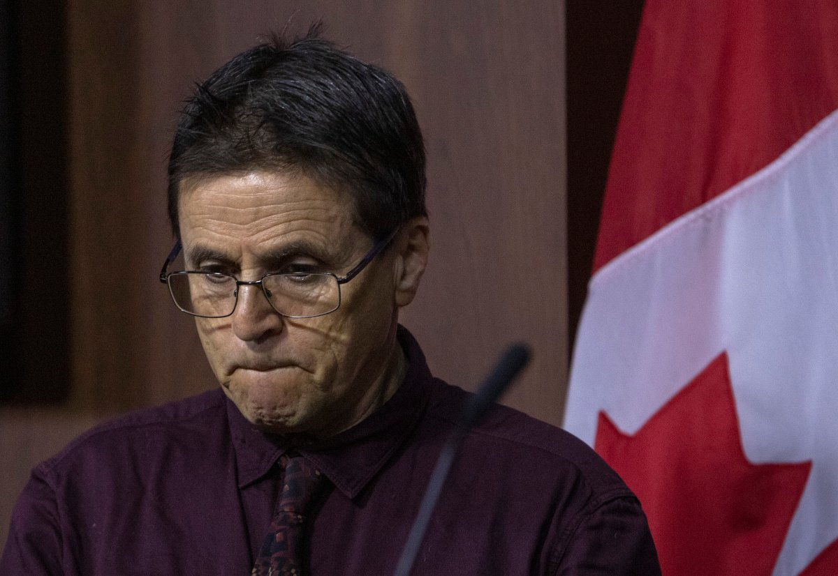 Hassan Diab holds a news conference on Parliament Hill, in Ottawa Friday, February 7 , 2020.