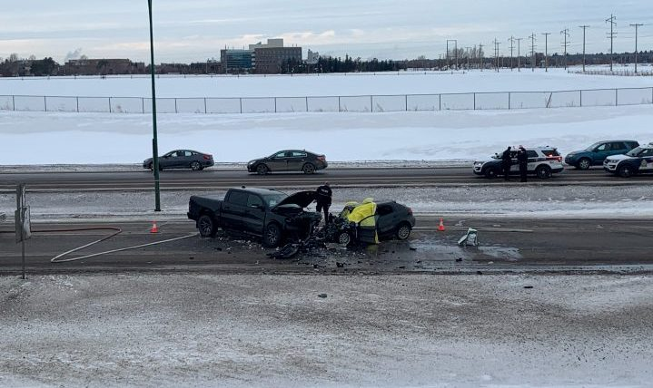 A 24-year-old woman is dead after she was involved in a head-on collision with another vehicle on Circle Drive in Saskatoon on Friday.