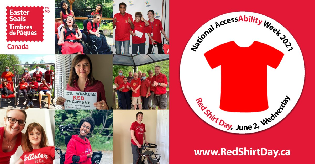 Red Shirt Day is a day when people across Canada come together and wear red in schools, workplaces and spaces everywhere in order to create a visible display of solidarity for people and families living with disabilities, as well as to demonstrate their support and commitment for accessibility and inclusion of people with disabilities in Canada. By wearing red on Red Shirt Day, Canadians are pledging to take individual and collective action to help create a fully accessible and inclusive society that honours and values the contributions of people of all abilities, in all aspects of life, in Canada. Red Shirt Day is celebrated in conjunction with National AccessAbility Week and takes place on the Wednesday of National AccessAbility Week each year. In 2021, Red Shirt Day will take place on Wednesday, June 2nd. On Wednesday, June 2nd, 2021, post a selfie or a group photo of you with your family, friends, classmates or colleagues – all wearing red – on social media with the hashtags: #RedShirtDay, #RedForAccessAbility, #EasterSeals and #unstoppABLE. For more information about Red Shirt Day and National AccessAbility Week, and resources and suggested activities on how to observe and celebrate Red Shirt Day and National AccessAbility Week in your schools, workplaces, businesses and communities, visit www.RedShirtDay.ca.